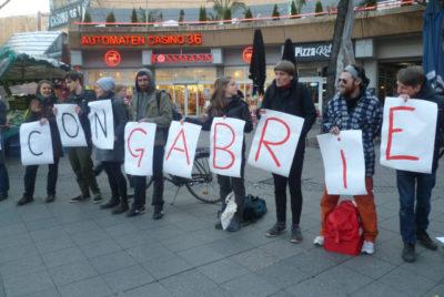 Solidaritätsaktion für den in der Türkei in Haft genommenen italienichen Journalisten Gabriele Del Grande